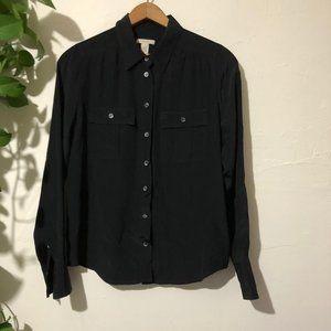 J. Crew 100% Silk Black Button Down Size 4